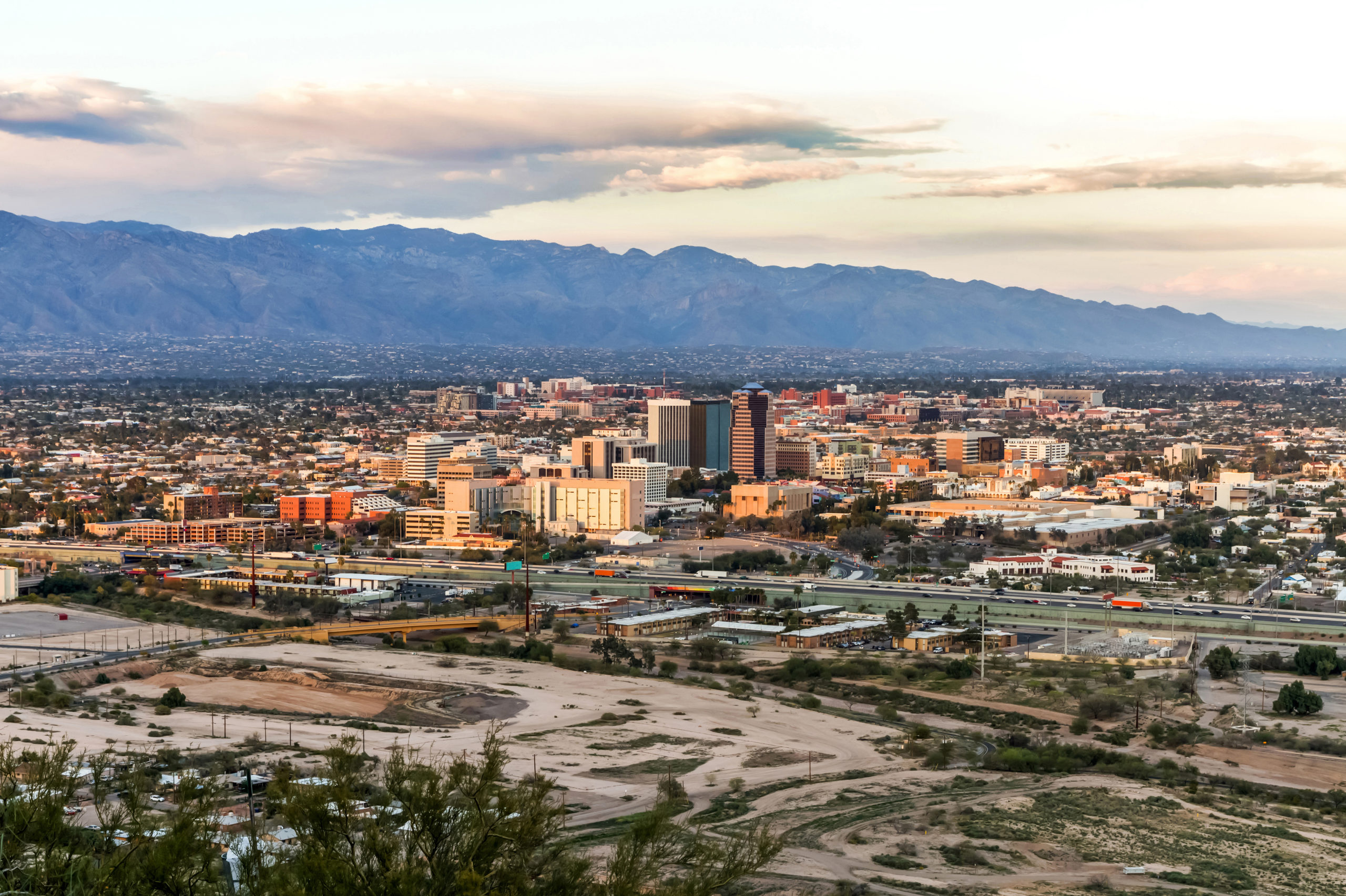 Tucson Skyline Downtown and Santa Catalina Mountains at Sunset